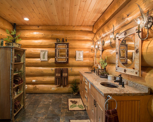 Small Log Cabins Bathroom Design Ideas Renovations Photos With