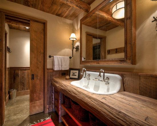 Rustic Bathroom Design Ideas, Remodels & Photos with Concrete Floors