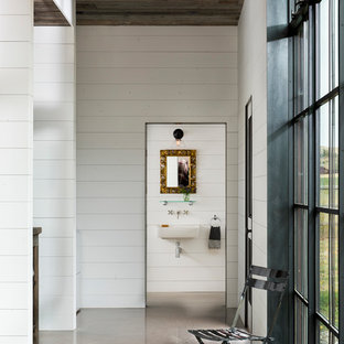 Inspiration for a small modern 3/4 concrete floor and gray floor bathroom remodel in Other with white walls and a wall-mount sink