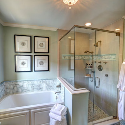 Bathroom - mid-sized traditional master green tile and porcelain tile ceramic tile bathroom idea in Detroit with raised-panel cabinets, white cabinets and green walls