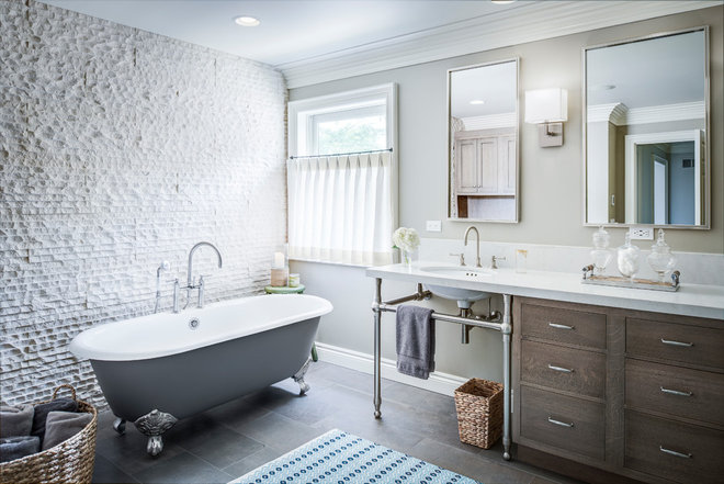 Transitional Bathroom by Yellow House