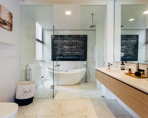 Contemporary Master Beige Floor Bathroom Idea In Singapore With Flat Panel  Cabinets, Beige Cabinets