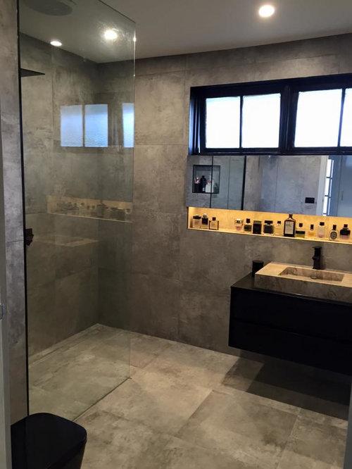 Industrial badezimmer mit zementfliesen ideen beispiele f r die badgestaltung houzz - Zementfliesen dusche ...