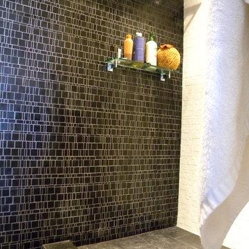 Black and white bathroom shower