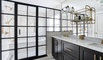 Black and White Double Vanity with Large Wet Room