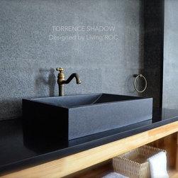 "BLACK GRANITE BATHROOM VESSEL SINK 23""X16"" -TORRENCE SHADOW - Reference: BB511B-US"