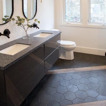 Black hexagon tile
