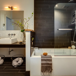 Bathroom   Small Contemporary Black Tile And Porcelain Tile Porcelain Floor  Bathroom Idea In Montreal With
