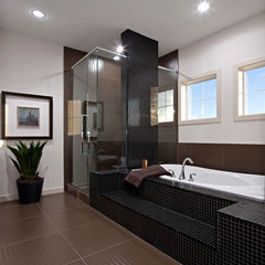 contemporary bathroom Black tile bathroom