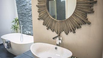 Black Upcycled Vanity with Starburst Mirror