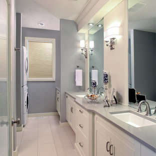 Bathroom Transitional White Tile Porcelain Floor Idea In Calgary With Shaker Cabinets