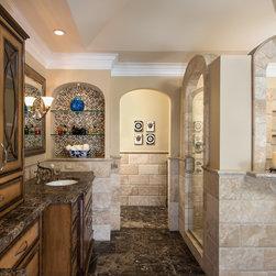 27,168 beige tile color Bath Design Photos with Limestone Countertops