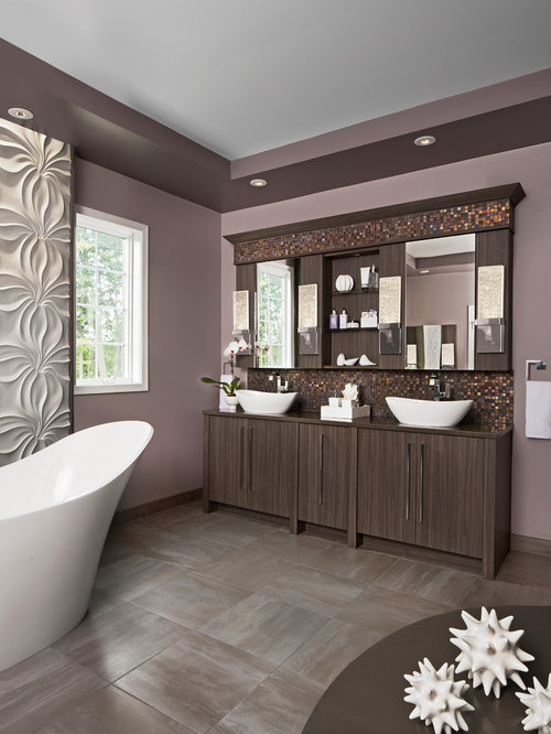 Bathroom design ideas remodels photos with brown tile for Purple and brown bathroom ideas
