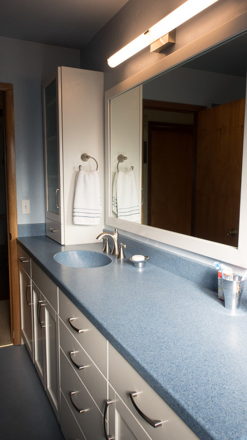 Blue and White Aging-in Place Bathroom