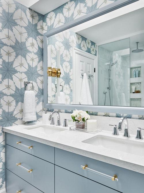 Alcove Shower Mid Sized Transitional Kids Blue Tile And Porcelain Tile Marble Floor