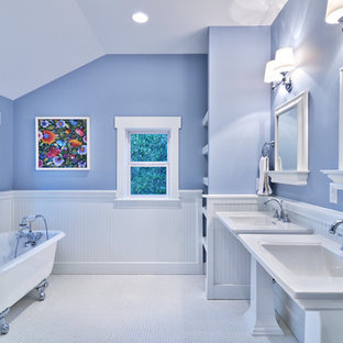 Blue and White Master Bath, Cottage Style