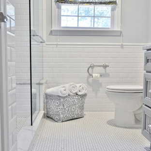 Example of a small classic master white tile and porcelain tile mosaic tile floor alcove shower design in Philadelphia with recessed-panel cabinets, marble countertops and gray walls