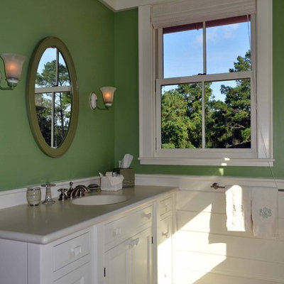 Large elegant dark wood floor bathroom photo in Atlanta with an undermount sink, shaker cabinets, white cabinets and green walls