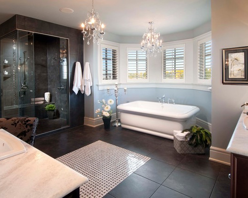 Dark Tile Flooring heres a minimalist bathroom with a detailed tile flooring comprised of dark grey and small white Saveemail