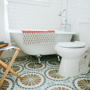 Bathroom - small eclectic white tile and subway tile cement tile floor and multicolored floor bathroom idea in Denver with a pedestal sink