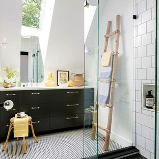 Example of an eclectic 3/4 white tile multicolored floor bathroom design in Minneapolis with flat-panel cabinets, black cabinets, white walls and white countertops