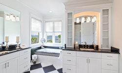 Bold Black and White Modern Master Bath