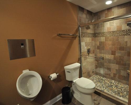stone tile bathroom with an urinal ideas