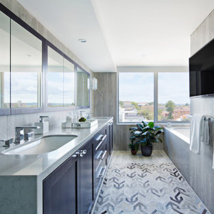Design ideas for a contemporary bathroom in Sydney with shaker cabinets, black cabinets, gray tile, an undermount sink, grey floor, grey benchtops and a double vanity.
