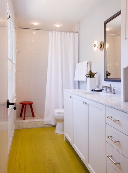 Transitional Bathroom by Texas Construction Company