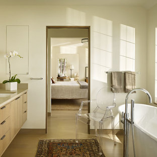 Inspiration For A Contemporary Master Light Wood Floor Freestanding Bathtub  Remodel In Seattle With An Undermount