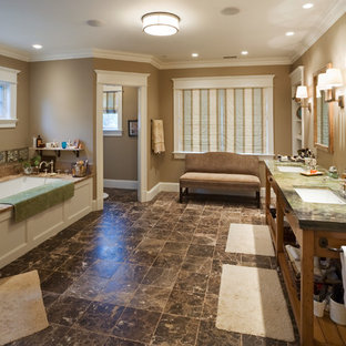 Inspiration for an expansive traditional master bathroom in DC Metro with an undermount sink, open cabinets, an undermount tub, a corner shower, brown tile, brown walls and green benchtops.