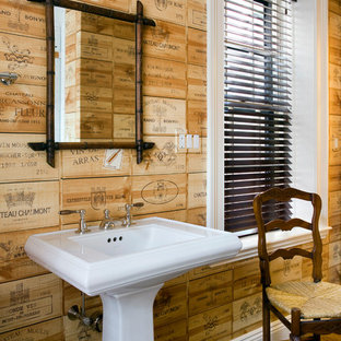This is an example of a bohemian bathroom in Boston with a pedestal sink.
