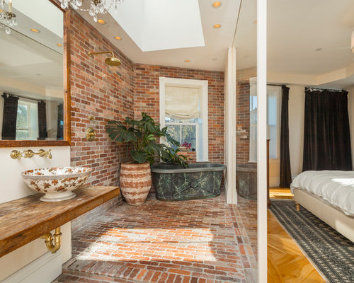 Inspiration For A Farmhouse   Brick Floor And Brown Floor Bathroom Remodel In Boston