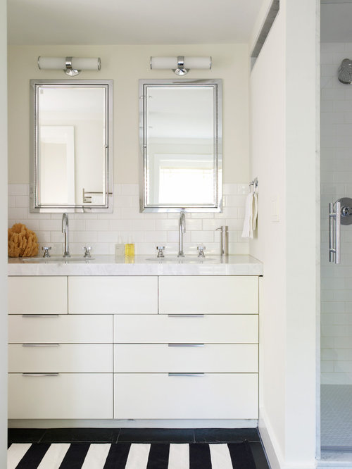 Delightful Inspiration For A Contemporary Bathroom Remodel In Boston With Marble  Countertops, Subway Tile, Flat Part 28