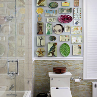 Example of an eclectic mosaic tile bathroom design in Boston