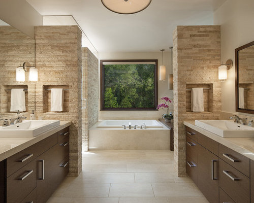 Perfect Example Of A Trendy Master Beige Tile And Travertine Tile Travertine Floor  Drop In Bathtub