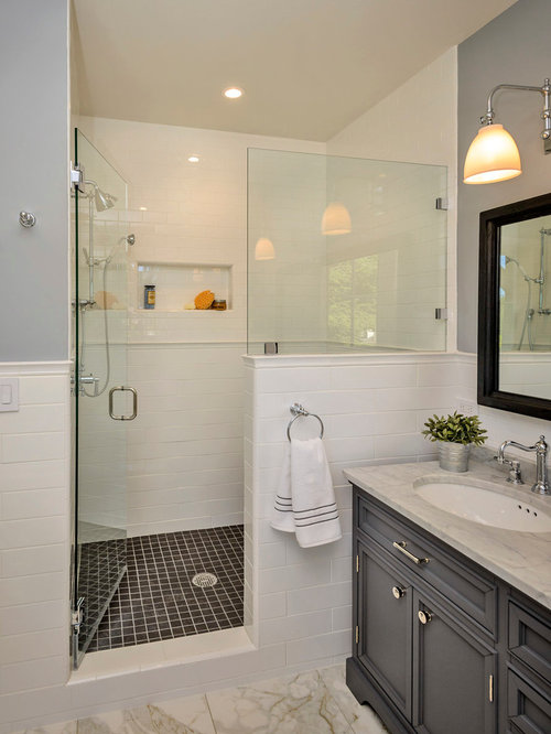 Inspiration For A Timeless White Tile And Subway Tile Alcove Shower Remodel  In San Francisco With Part 50