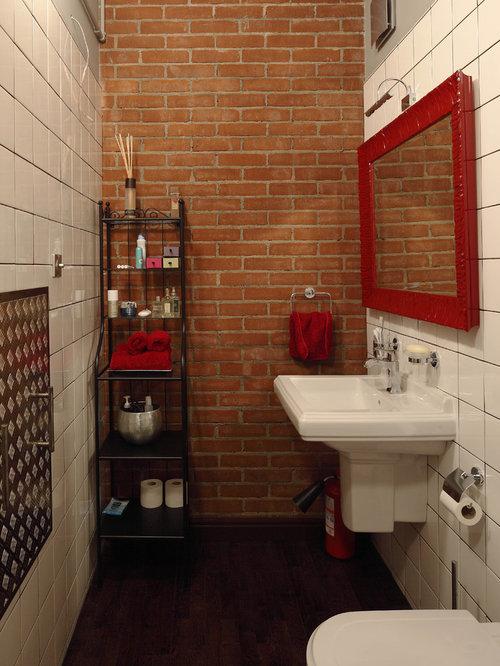 Industrial badezimmer mit dunklem holzboden ideen for Badezimmer ideen mit holzboden