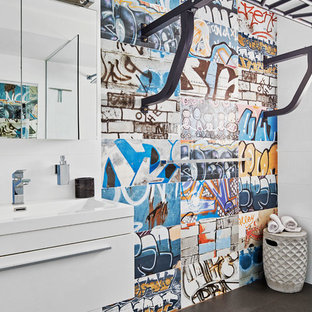 Design ideas for a small contemporary kids wet room bathroom in Sydney with white cabinets, white tile, multi-coloured tile, ceramic tile, white walls, ceramic floors, engineered quartz benchtops, grey floor, an open shower, flat-panel cabinets and a console sink.