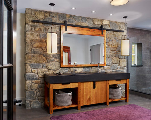 Example Of A Country Bathroom Design In Philadelphia With Medium Tone Wood Cabinets And Flat