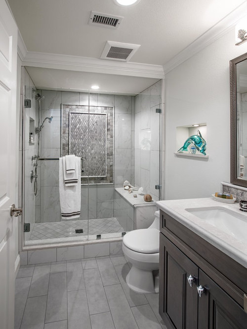 Small elegant 3 4 black and white tile and porcelain tile porcelain floor  and gray. Top 30 Traditional Black and White Tile Bathroom Ideas