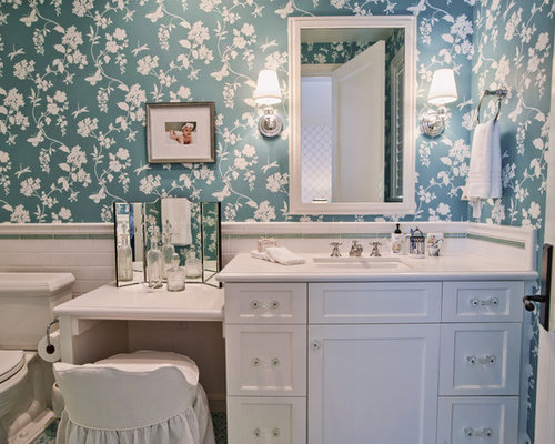 Dual Vanity With Makeup Counter Houzz - Bathroom vanity with makeup counter for bathroom decor ideas