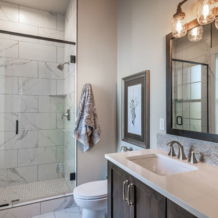 Example Of A Country 3 4 Beige Tile And Gray White Floor Bathroom Design