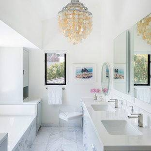 Alcove bathtub - mid-sized contemporary master white tile and marble tile marble floor and white floor alcove bathtub idea in Los Angeles with flat-panel cabinets, gray cabinets, quartz countertops, white countertops, white walls and an undermount sink