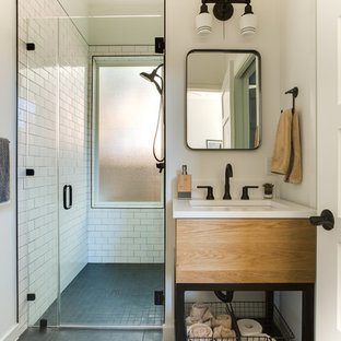 Example of a transitional 3/4 white tile and subway tile gray floor walk-