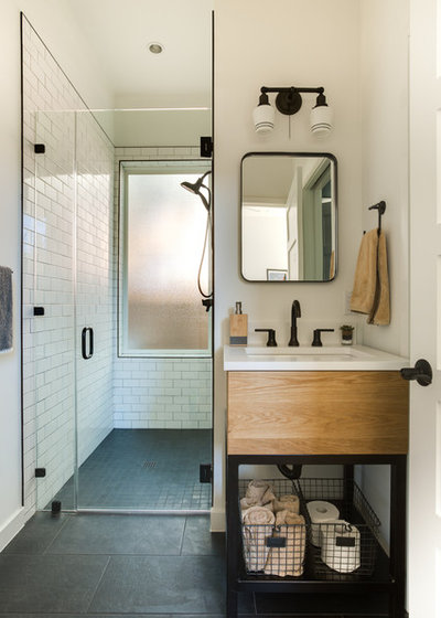 Cool Transitional Bathroom by Lemmo Architecture and Design