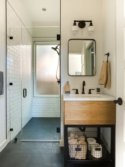 Example Of A Transitional 3/4 White Tile And Subway Tile Gray Floor Walk