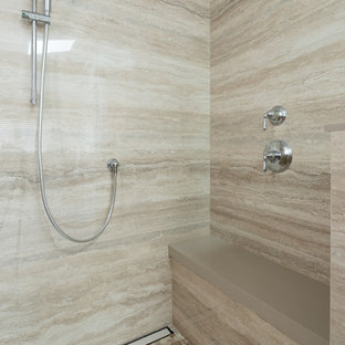 Bright & Light Master Bath with Floor to Ceiling Porcelain Slab