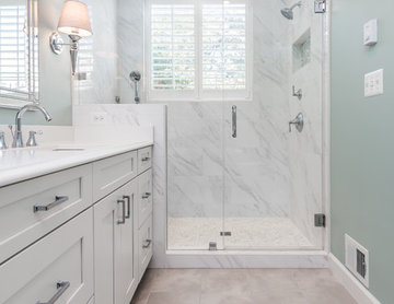 Bright and White Master Bathroom
