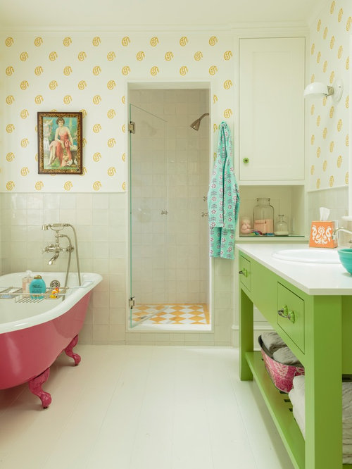 green bathroom color ideas. Mid sized beach style kids  ceramic tile painted wood floor claw foot bathtub Pink And Green Bathroom Ideas Houzz